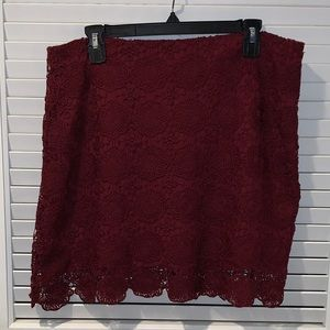 HeartSoul maroon lace skirt